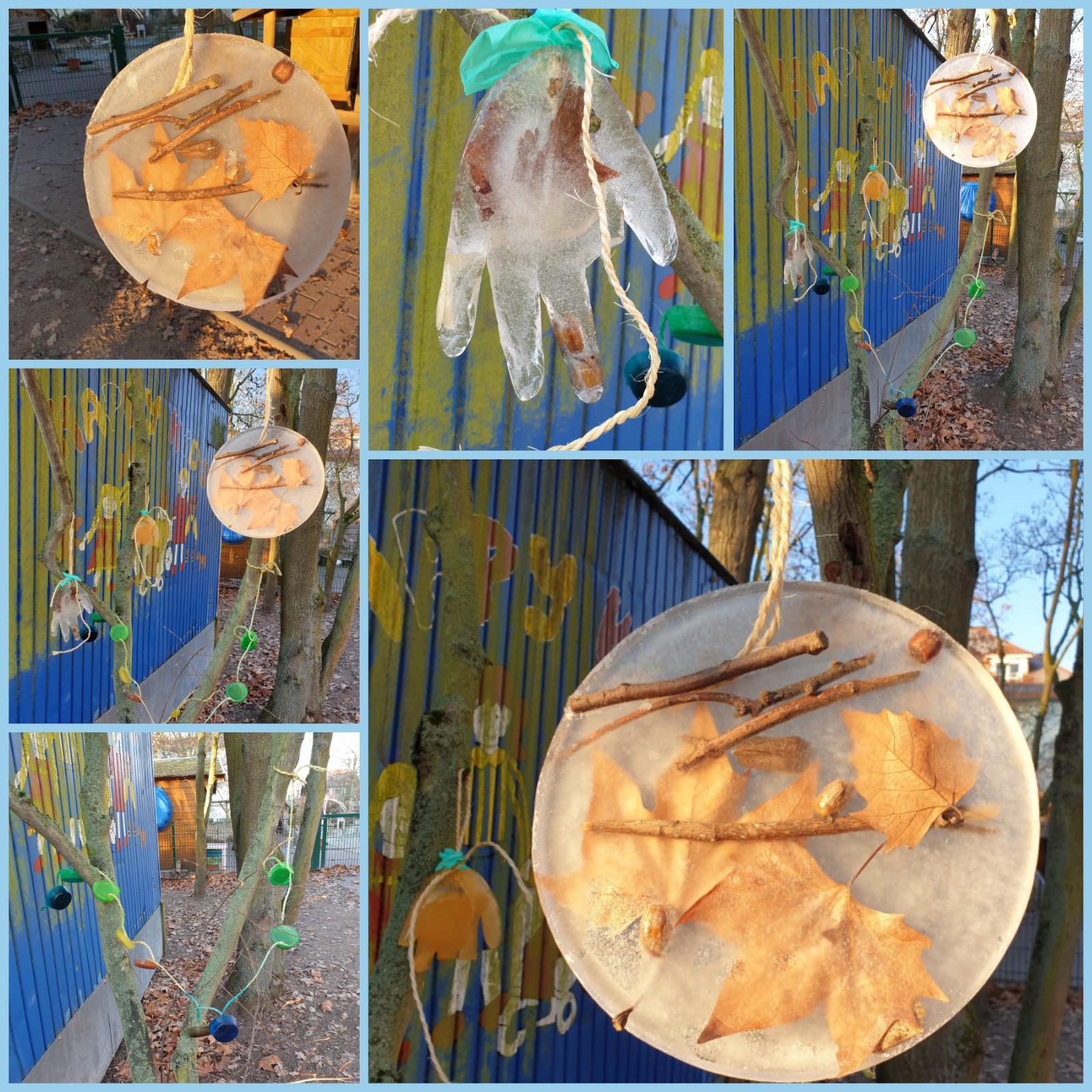 Eiskunstwerke werden hergestellt mit Hilfe der Natur